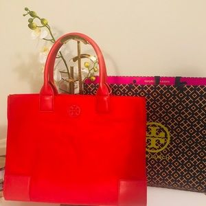 TORY BURCH ELLA TOTE BRILLIANT RED JUST OUT!! NWT